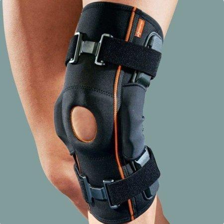 Ginocchiera in tessuto AirX con stecche rigide laterali e foro rotuleo