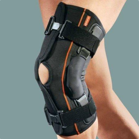 Ginocchiera aperta in tessuto AirX con stecche rigide laterali e foro rotuleo