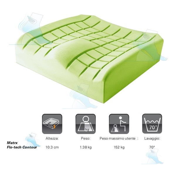 Cuscino per carrozzina matrx flo tech contour invacare for Misure cuscino carrozzina